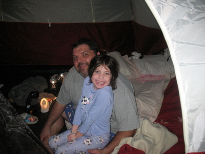 Gracie and Chris in tent