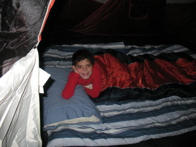 Connor in tent